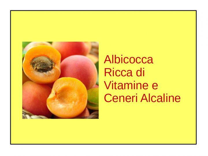 albicocca ricca di vitamine e ceneri alcaline