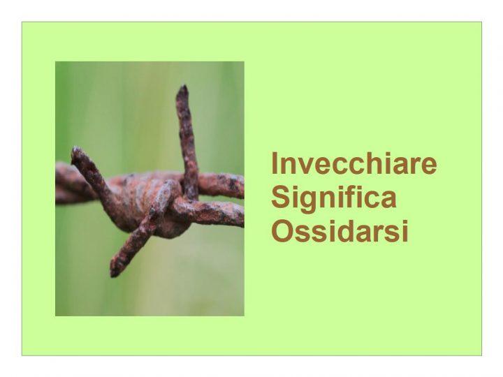 Invecchiare significa Ossidarsi, come il ferro che arrugginisce all'umidità dell'aria.