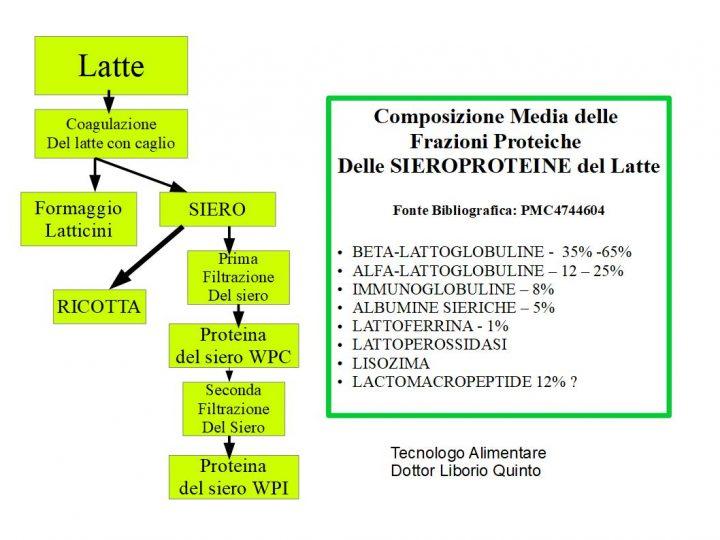 Le Sieroproteine del Latte tabella composizione e diagramma di flusso di produzione WPI e WPC